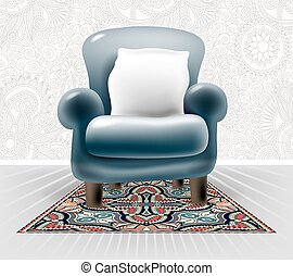 dark blue leather chair with a white pillow in interior
