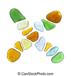 sea glass peices on white - sea glass letters isolated on...