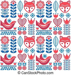 Scandinavian seamless folk art pattern - Finnish design,...