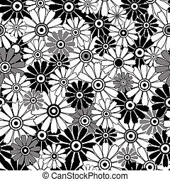 White-black repeating floral pattern - White, grey and black...