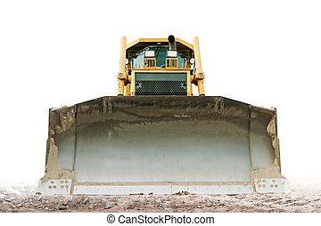 Bulldozer - yellow bulldozer isolated on pure white