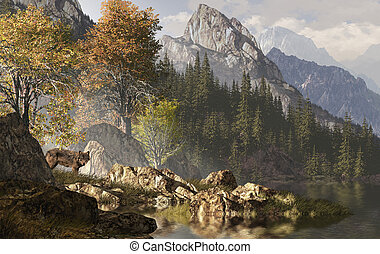 Wolf And The Rocky Mountains - Wolf near a lake in a Rocky...