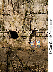 Gloucester Hole and union flag, on England side of River Wye...