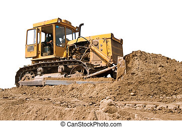 bulldozer - A tracks-dozer (bulldozer) at an open-pit copper...