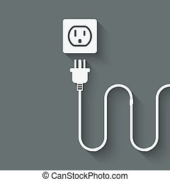 electric wire with plug near outlet. vector illustration -...