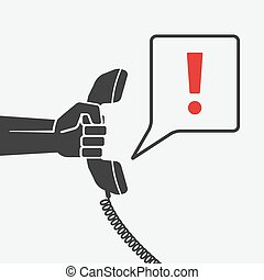 hand with telephone handset with chat bubble. vector...