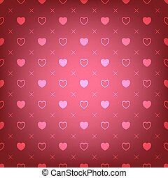 red background with hearts seamless pattern