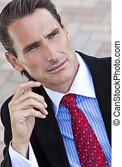 Outdoor Portrait of Handsome Middle Aged Man or Businessman...