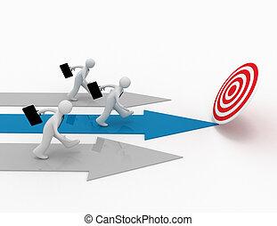 3d businessman run to target. winner, lieadership conept