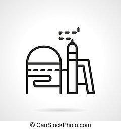 Chemical industry simple line vector icon - Symbol of...