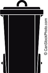 Garbage bin icon, simple style - Garbage bin icon. Simple...