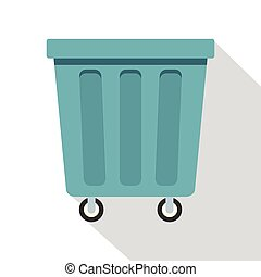 Outdoor blue trash can icon, flat style - Outdoor blue trash...