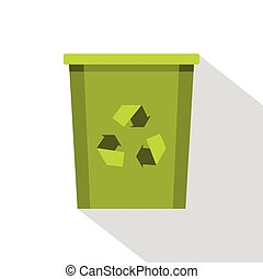 Green bin with recycle symbol icon, flat style - Green...