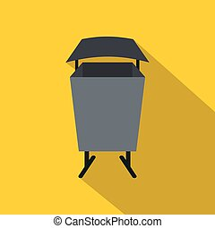 Metal rubbish bin icon, flat style - Metal rubbish bin icon....