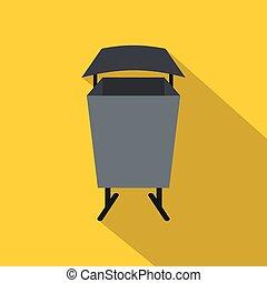 Metal rubbish bin icon, flat style - Metal rubbish bin icon....