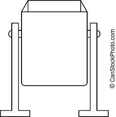 Metal dust bin icon, outline style - Metal dust bin icon....