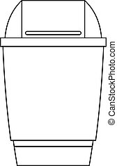 Dustbin icon, outline style - Dustbin icon. Outline...