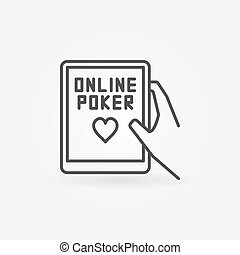 Online poker line icon. Hand holding tablet with online...