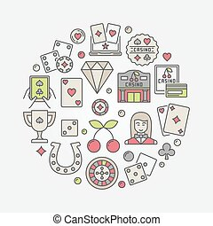 Casino flat illustration. Vector colorful round symbol made...