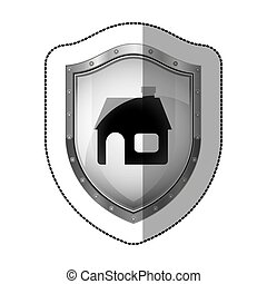 sticker metallic shield with silhouette house vector...