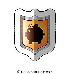 sticker shield with silhouette money box with coin