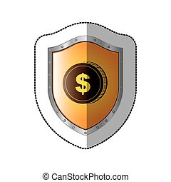 sticker shield with silhouette coin with dollar symbol