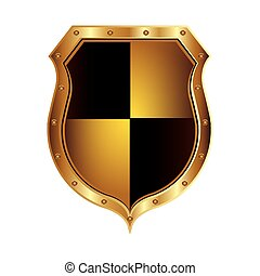 golden shield with colorful rhombus shape