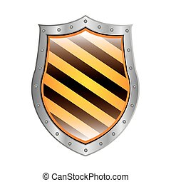 metallic shield with right diagonal stripe