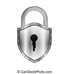 padlock with shield shape body and shackle vector...