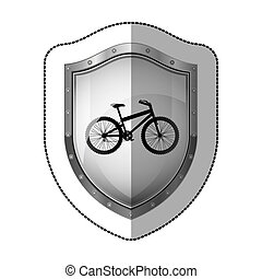 sticker metallic shield with silhouette bicycle