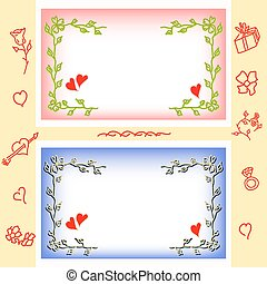 Valentine greeting cards, frame from flowers and hearts.