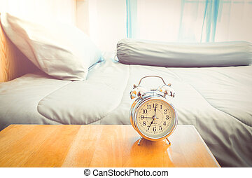 "alarm clock - Vintage alarm clock "" 7.00 AM. at morning in..."