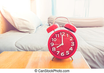 "alarm clock - Red alarm clock "" 8.00 AM. at morning in..."