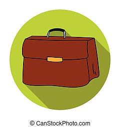 Briefcase icon in flat style isolated on white background....