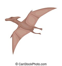 Dinosaur Pterodactyloidea icon in cartoon style isolated on...