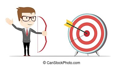 successful man aiming target with bow and arrow