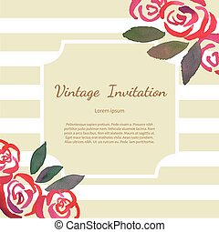 Invitarion card with watercolor vintage roses - Invitation...