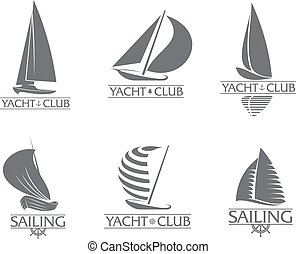Set of graphic yacht club, sailing sport logo templates -...