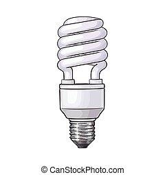 Fluorescent, energy saving, spiral light bulb on white background