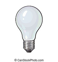 Matted, opaque tungsten light bulb, side view, sketch vector...