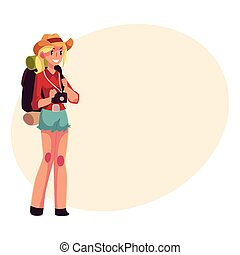 Young pretty girl travelling, hitchhiking with backpack and camera