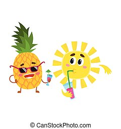 Funny pineapple and sun characters talking, drinking cocktails, having discussion