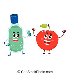 Funny dental mouthwash, mouth rinse and apple character,...