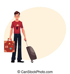 Young man in jeans and tshirt travelling with two suitcases...