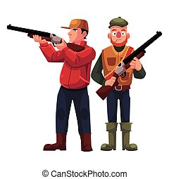 Two hunters, one in vest holding rifle, another aiming