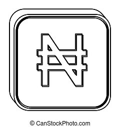 monochrome square contour with currency symbol of nigerian...