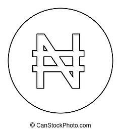 monochrome contour with currency symbol of nigerian naira in...