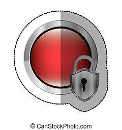 sticker circular button with metallic padlock vector...