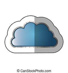 sticker metallic cloud tridimensional in cumulus shape...