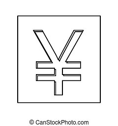 monochrome contour with currency symbol of china in square...